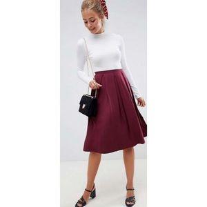 Burgundy Pleated Midi Skirt